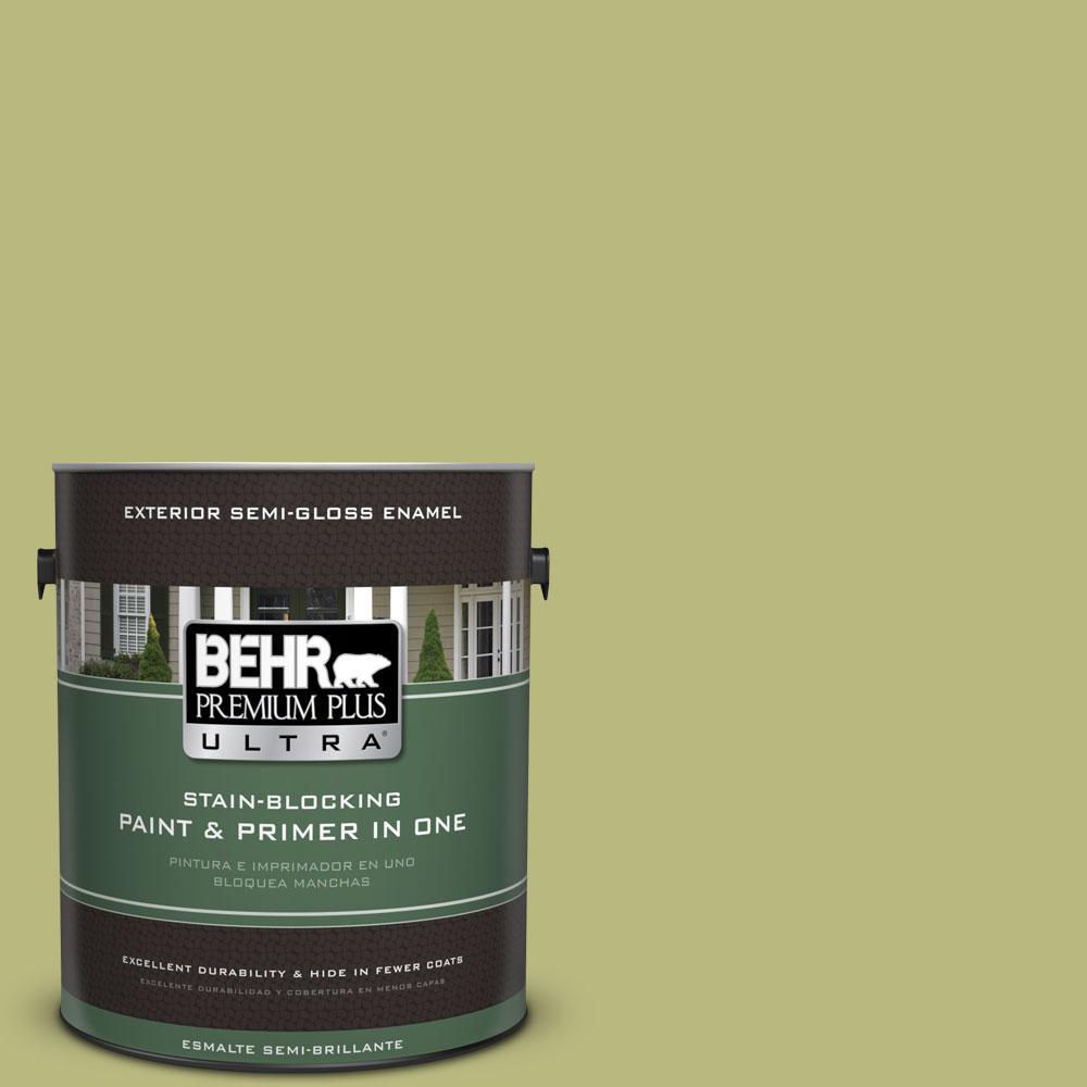 BEHR Premium Plus Ultra 1-gal. #400D-5 Grass Cloth Semi-Gloss Enamel Exterior Paint