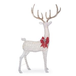 8.5 ft Polar Wishes Gianted-Size White LED Deer with Bow