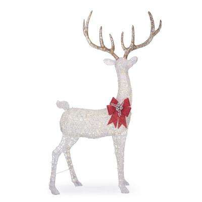 Polar Wishes 103 in. Giant White Christmas Deer Yard Decoration with LED Lights