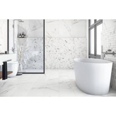 Belmar White Weave 12 in. x 12 in. x 9.5mm Porcelain Mosaic Tile