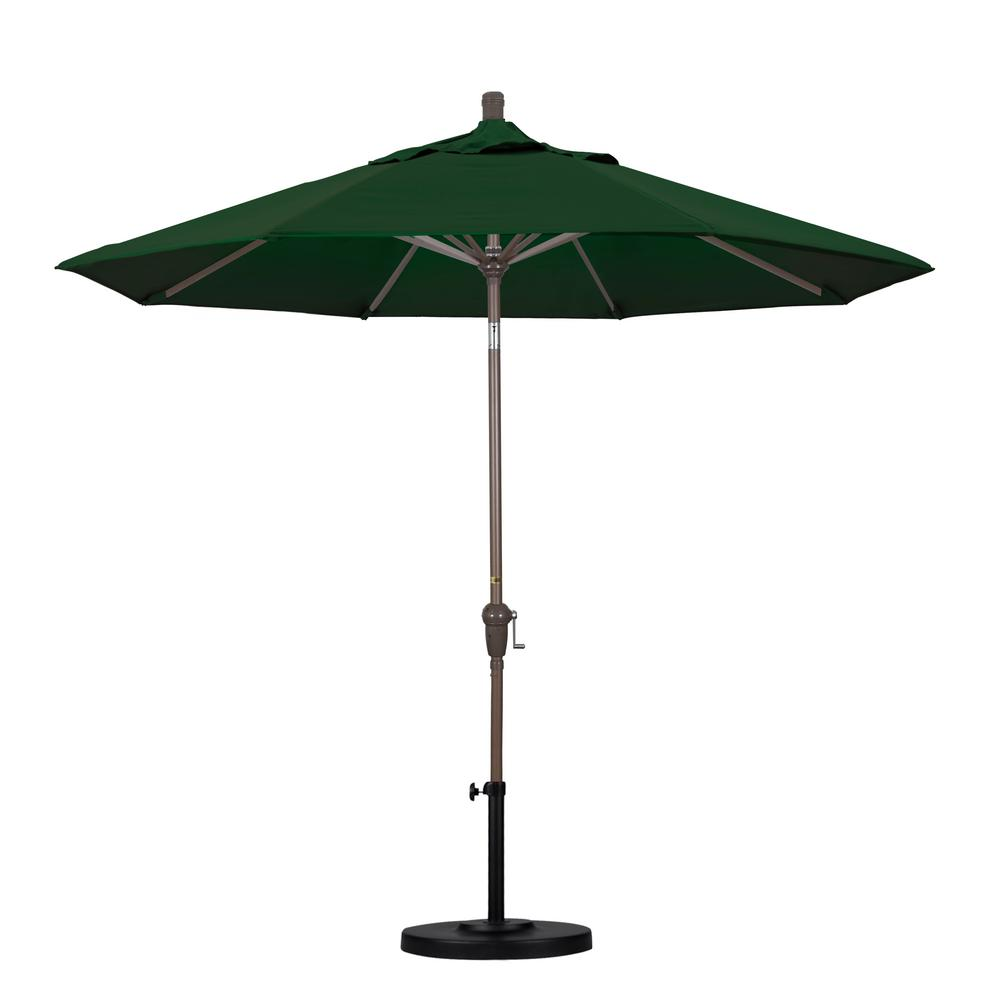 9 ft. Aluminum Auto Tilt Patio Umbrella in Hunter Green Pacifica