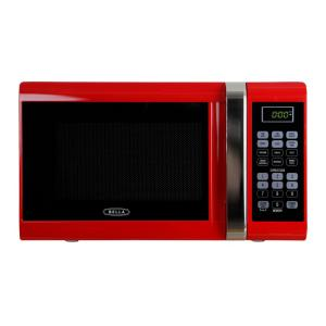 Bella 0.9 cu. ft. 900-Watt Countertop Microwave Oven in Red with Chrome by Bella