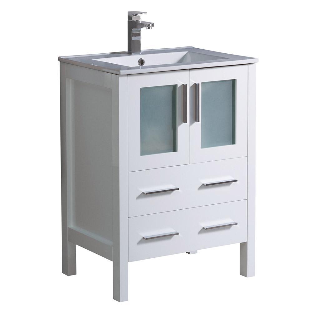 Torino 24 in. Bath Vanity in White with Ceramic Vanity Top in White with White Basin