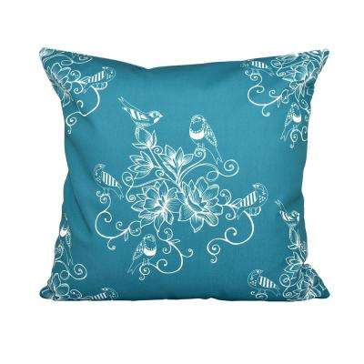 16 in. x 16 in. Teal Morning Birds Floral Print Pillow