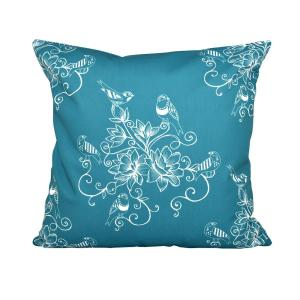 16 inch x 16 inch Teal Morning Birds Floral Print Pillow by
