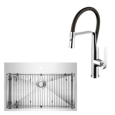 All-in-One Drop-in Top Mount Stainless Steel 33 in. Single Bowl Kitchen Sink with Faucet in Chrome Sink Kit
