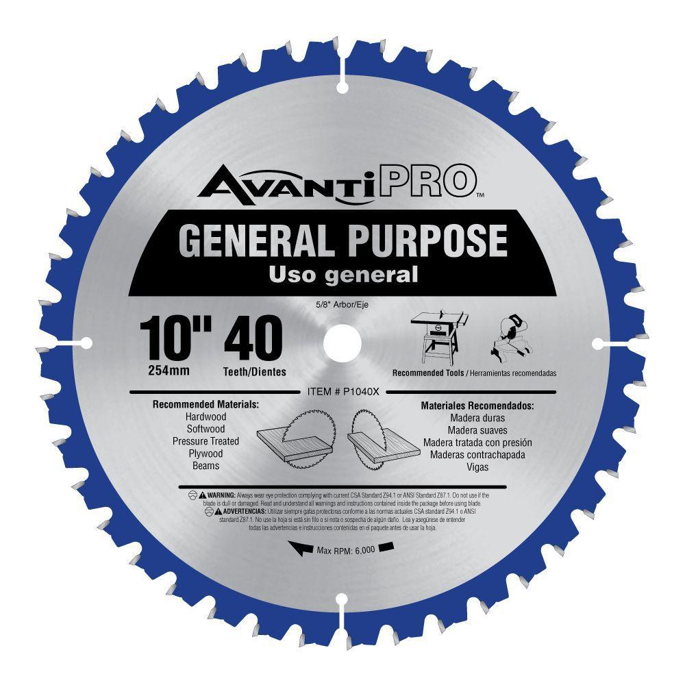 Avanti Pro 10 in. x 40-Tooth General Purpose Saw Blade