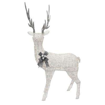 48 in. H Disordered Fabric Mesh White Gold Up Head Deer With-Ul 70 Clear Lights, Silver Antlers, Silver Hang Bell