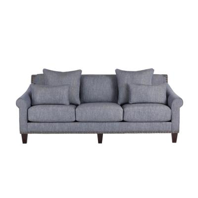 Everett Mix it Up Steel Blue Straight Standard Sofa with Nailheads (89.5 in. W x 35 in. H)