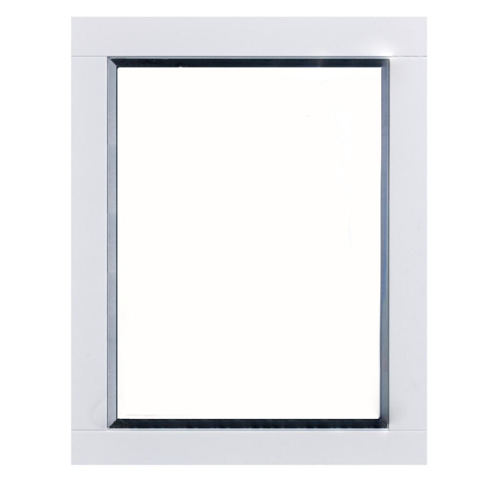 Aberdeen 24 in. W x 30 in. H Framed Rectangular Bathroom Vanity Mirror in White