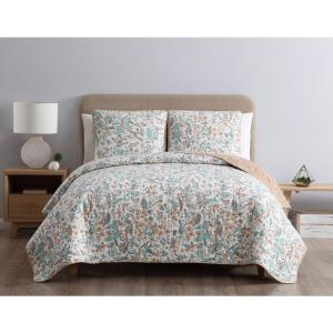 MHF Home Gertrude Reversible Blue Floral King Quilt Set,