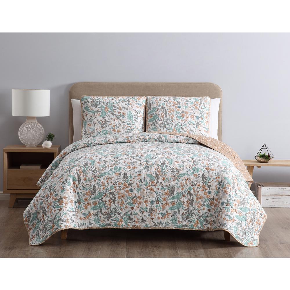MHF Home Gertrude Reversible Blue Floral King Quilt Set,