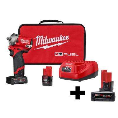 M12 FUEL 12-Volt Lithium-Ion Brushless Cordless Stubby 3/8 in. Impact Wrench Kit with Free 6.0Ah Battery