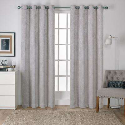 Antique Shantung 52 in. W x 84 in. L Woven Blackout Grommet Top Curtain Panel in Silver (2 Panels)