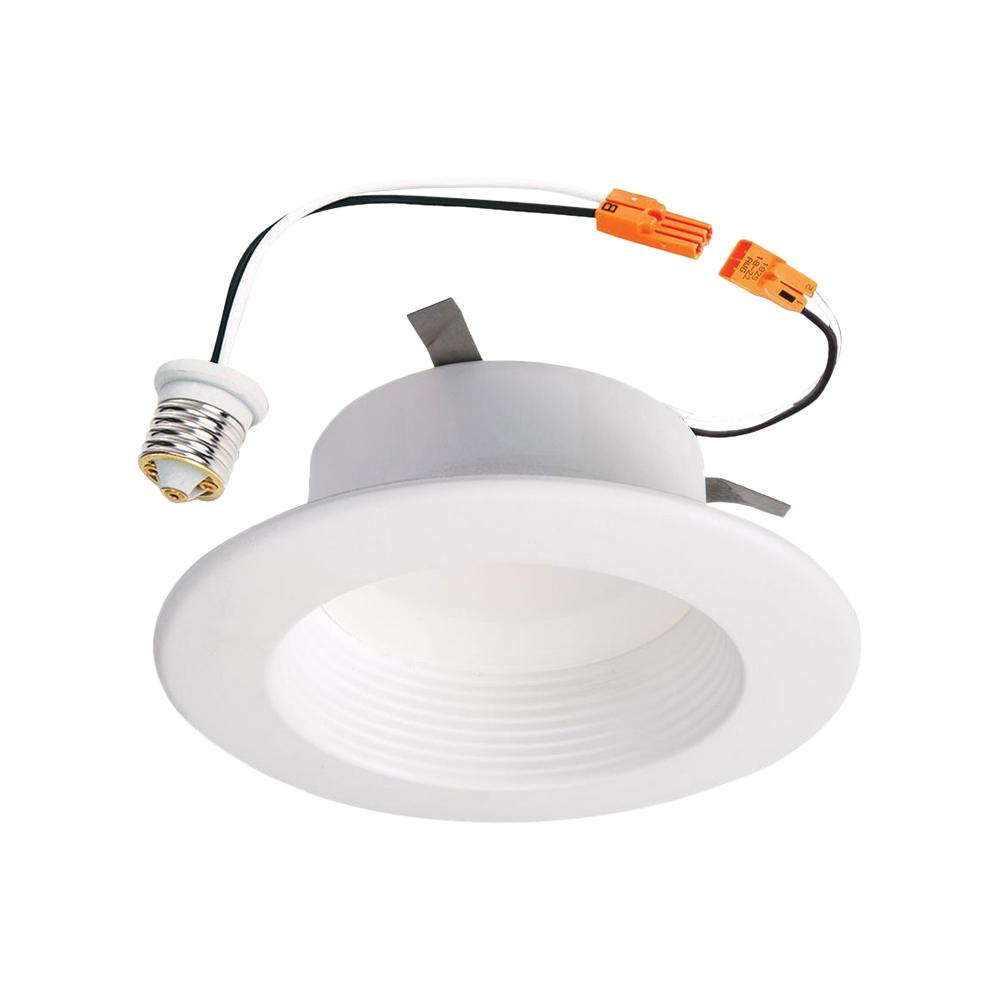 Halo Rl 4 In White Integrated Led Recessed Ceiling Light Fixture Retrofit Baffle Trim With 90 Cri 4000k Cool