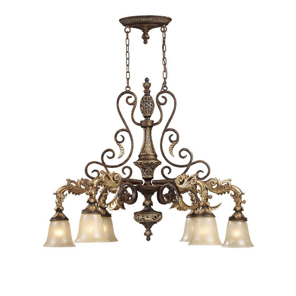 Titan Lighting Regency 6-Light Burnt Bronze Ceiling Mount Chandelier