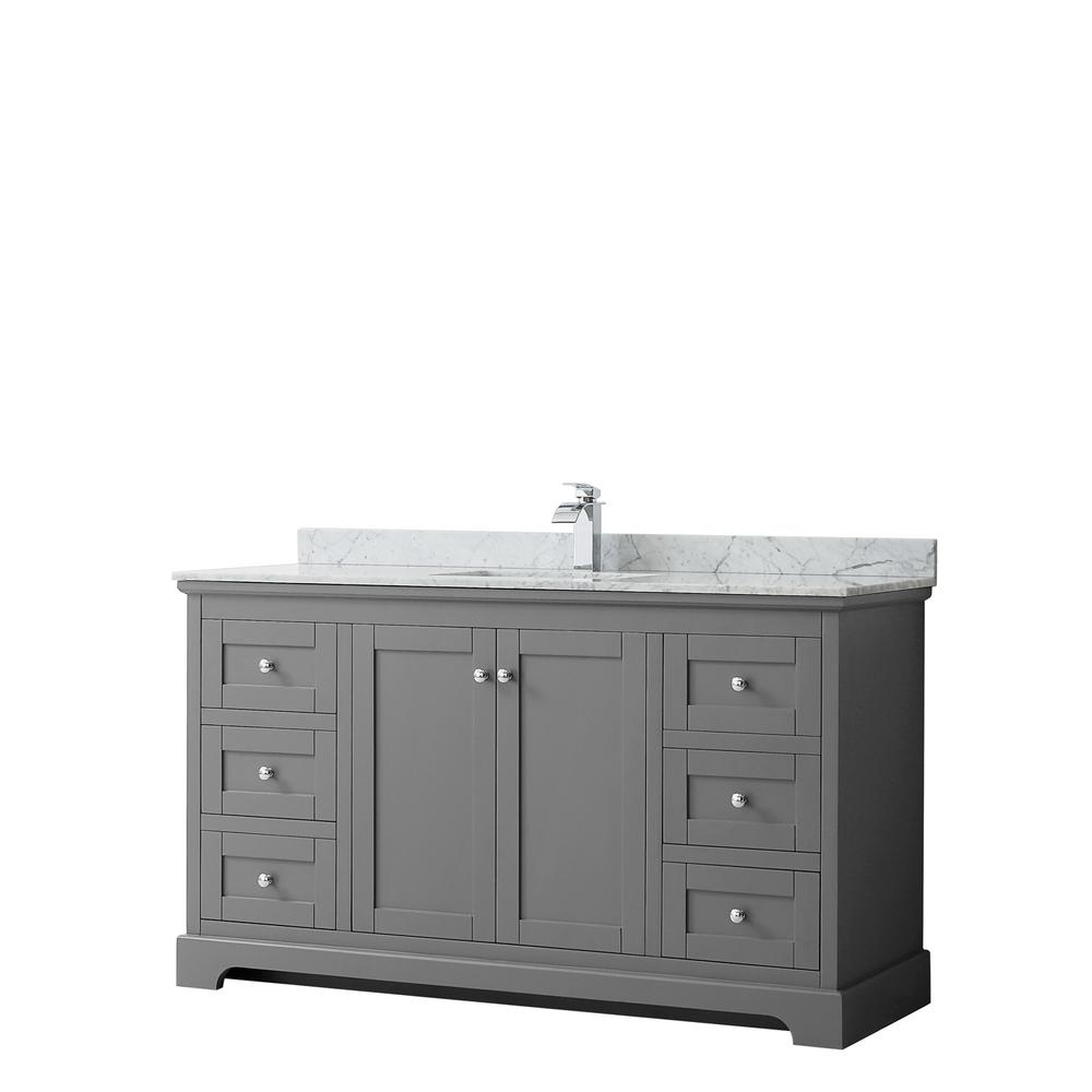 Wyndham Collection Avery 60 in. W x 22 in. D Bathroom Vanity in Dark Gray with Marble Vanity Top in White Carrara with White Basin