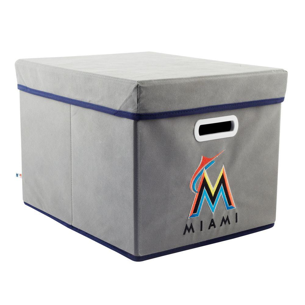 MyOwnersBox MLB STACKITS Miami Marlins 12 in. x 10 in. x 15 in. Stackable Grey Fabric Storage Cube