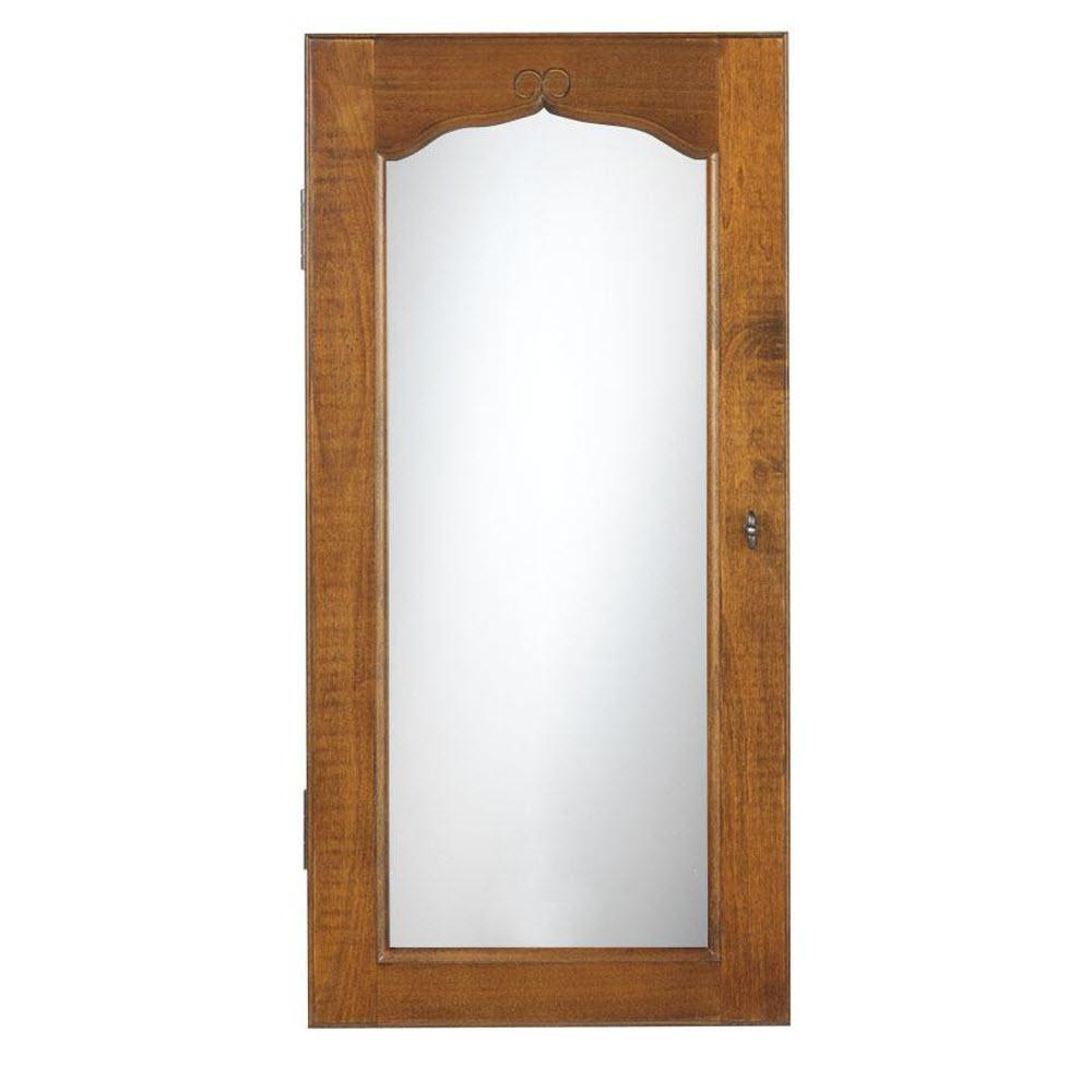 Provence Wall Mount Jewelry Armoire with Mirror in Chestnut