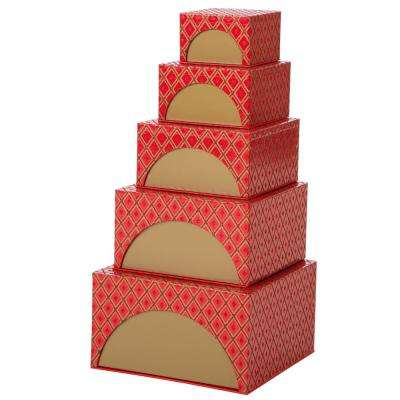 488 in nesting box tower red set of 5