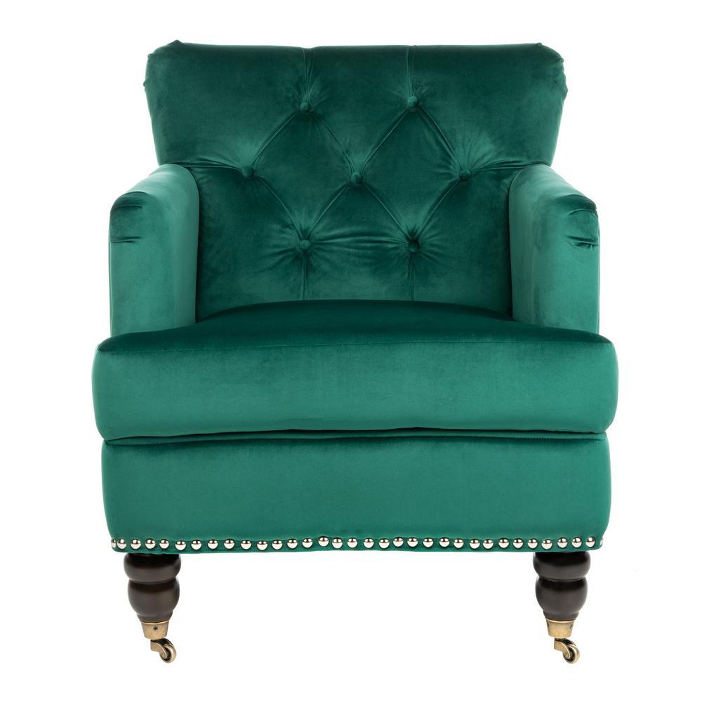 Safavieh Colin Emerald/Espresso Accent Chair HUD8212M