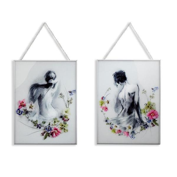 Arthouse Adriana and Sophie Set of 2 Framed Glass Prints Wall