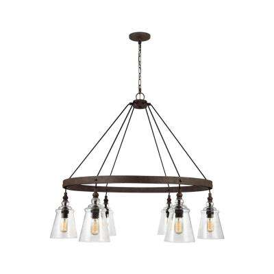 Loras 6-Light Dark Weathered Iron Chandelier