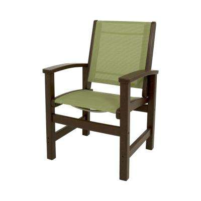 Coastal Mahogany All-Weather Plastic/Sling Outdoor Dining Chair in Kiwi