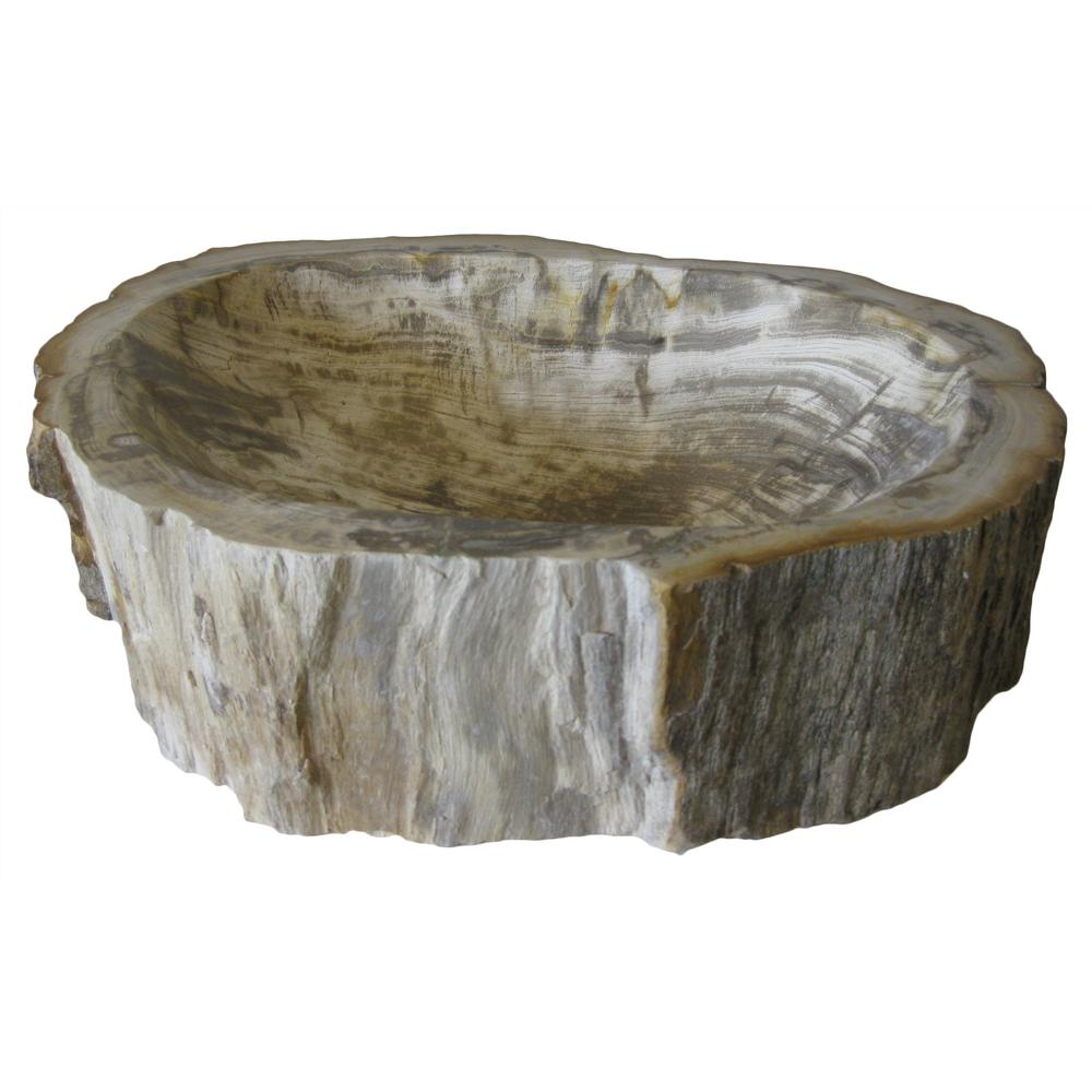 Novatto Fossil Wood Vessel Sink in Multi Color