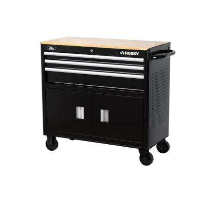 39 in. 3-Drawer Mobile Workbench, Black