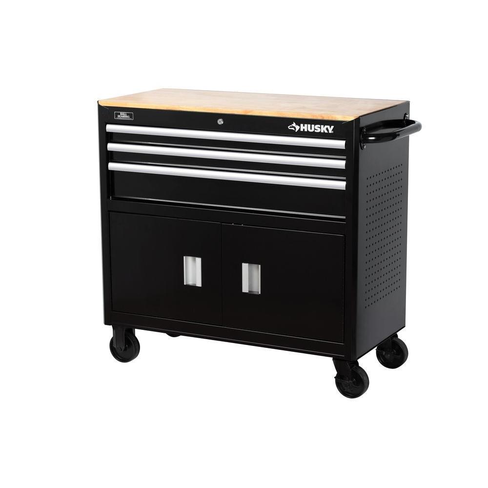 39 in. 3-Drawer Mobile Workbench, Black