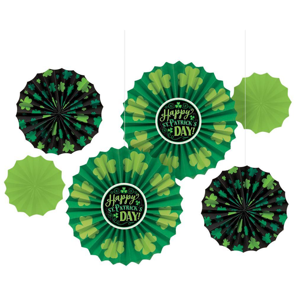 St. Patrick's Day Paper Fan Decoration Assortment (6-Count, 2-Pack)