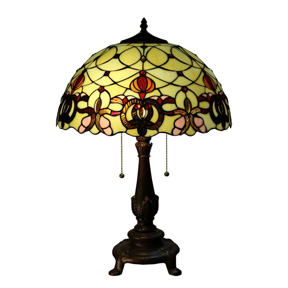 Jurie 23 in. 2-Light Bronze Indoor Table Lamp with Off-White Tiffany-Style