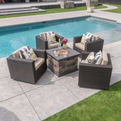 5-Piece Wicker Patio Fire Pit Conversation Set with Beige Cushions