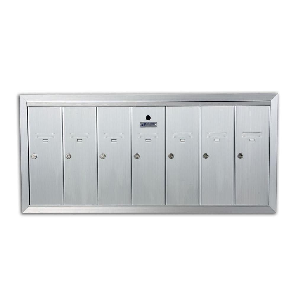 1250 Vertical Series 7-Compartment Aluminum Recess-Mount Mailbox