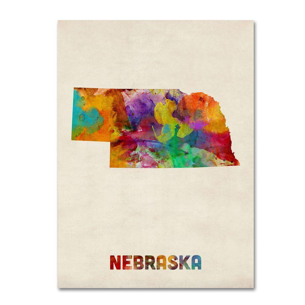 18 in. x 24 in. Nebraska Map Canvas Art
