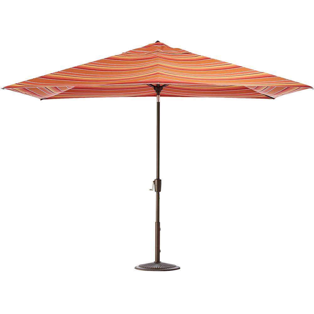 Home Decorators Collection 10 ft. Auto-Tilt Patio Umbrella in Dolce Mango Sunbrella with Bronze Frame