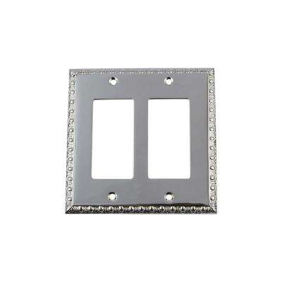 Egg and Dart Switch Plate with Double Rocker in Bright Chrome
