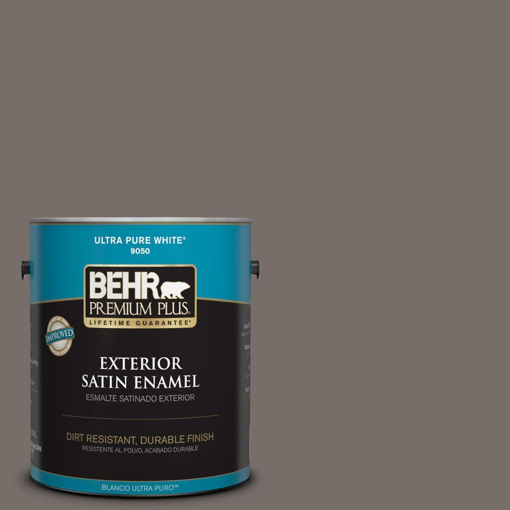 BEHR Premium Plus 1-gal. #bnc-37 Gray Owl Satin Enamel Exterior Paint, Grays