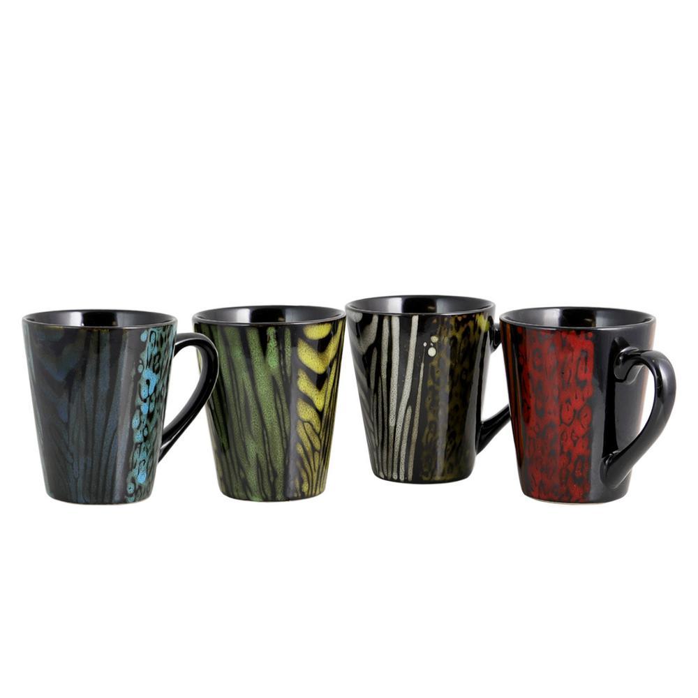 Ashanti Damask 4-Piece Assorted Color 14 oz. Mug Set
