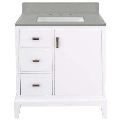 Shaelyn 31 in. W x 22 in. D Vanity in White LH with Engineered Quartz Vanity Top in Sterling Grey with White Sink