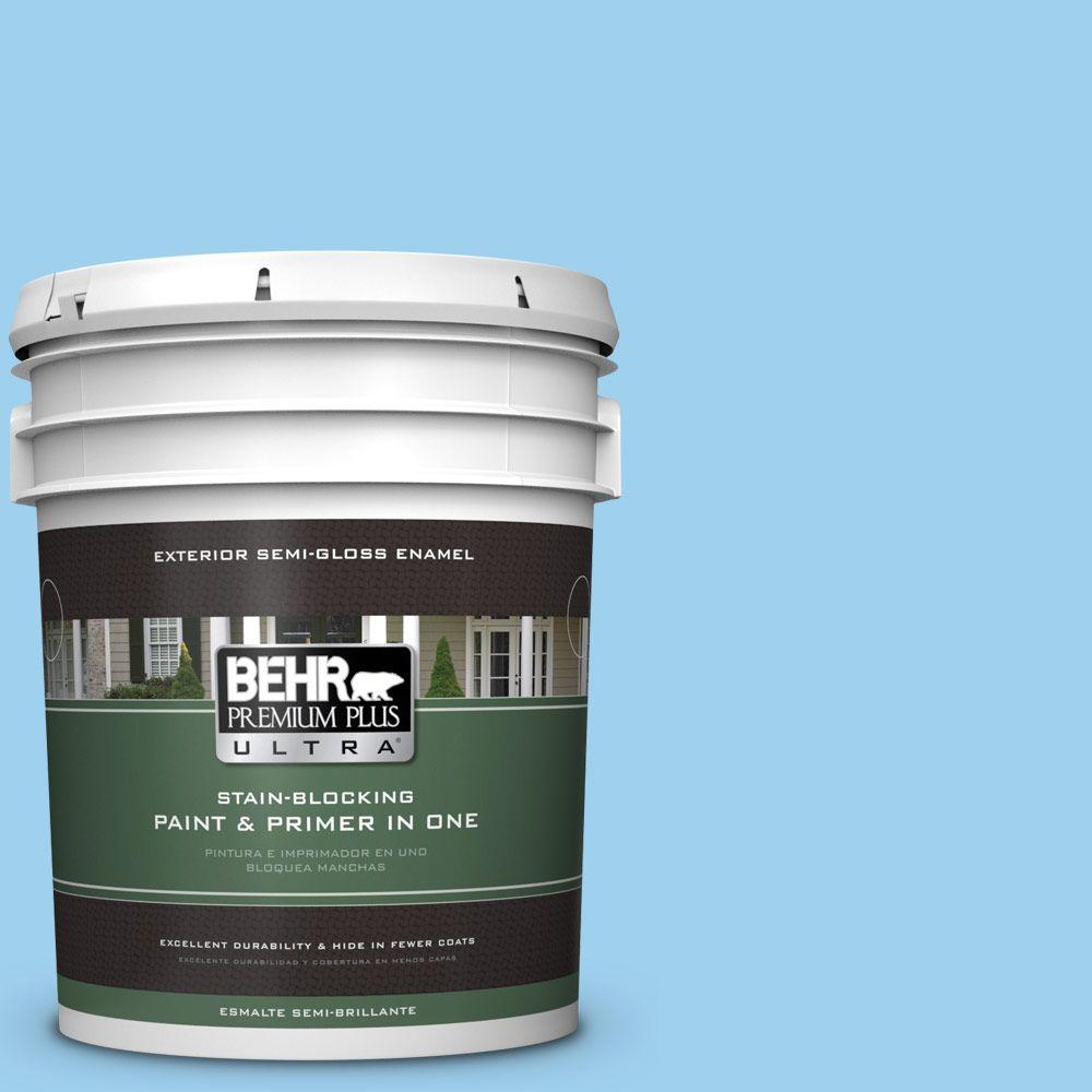 BEHR Premium Plus Ultra 5-gal. #P500-3 Spa Blue Semi-Gloss Enamel Exterior Paint
