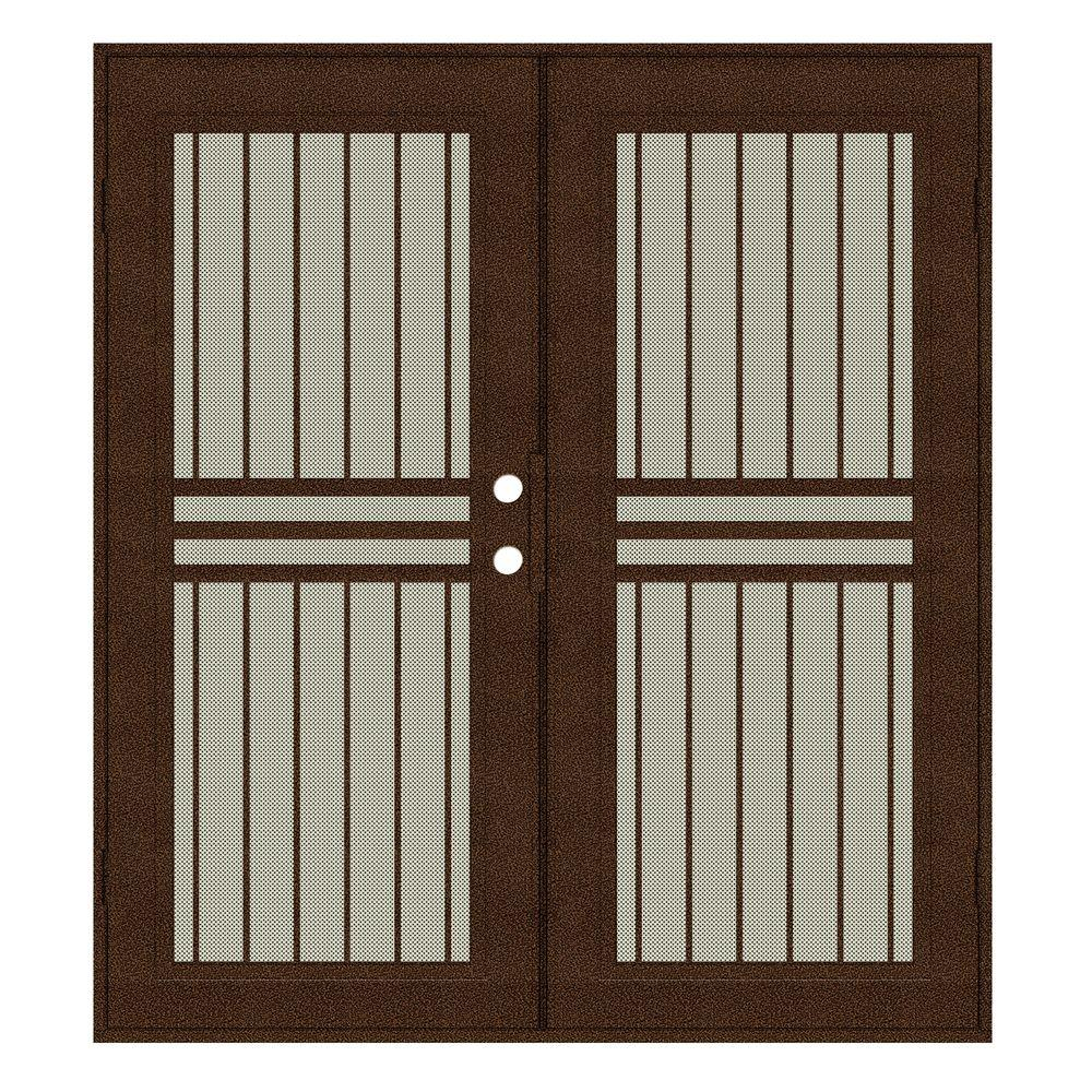 Unique Home Designs 72 in. x 80 in. Plain Bar Copperclad Right-Hand Surface Mount Aluminum Security Door with Beige Perforated Screen