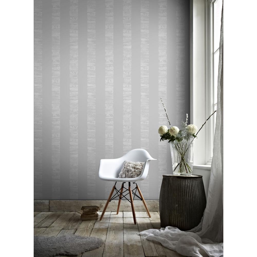 Mara Stripe Grey and Silver Removable Wallpaper