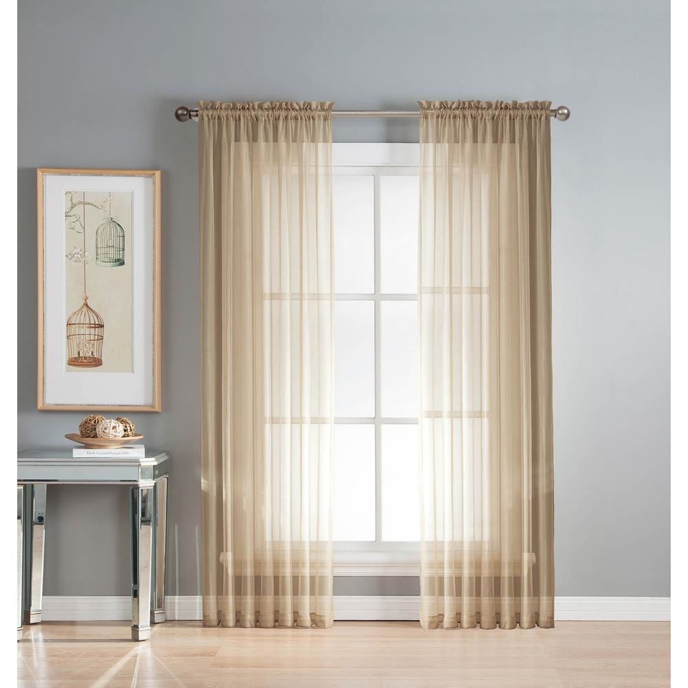 Window Elements Sheer Linen Solid Voile Extra Wide Rod Pocket Curtain Panel 54 In