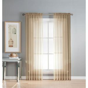 Window Elements Sheer Linen Solid Voile Extra-Wide Sheer Rod Pocket Curtain Panel 54 inch W x 63 inch L by Window Elements