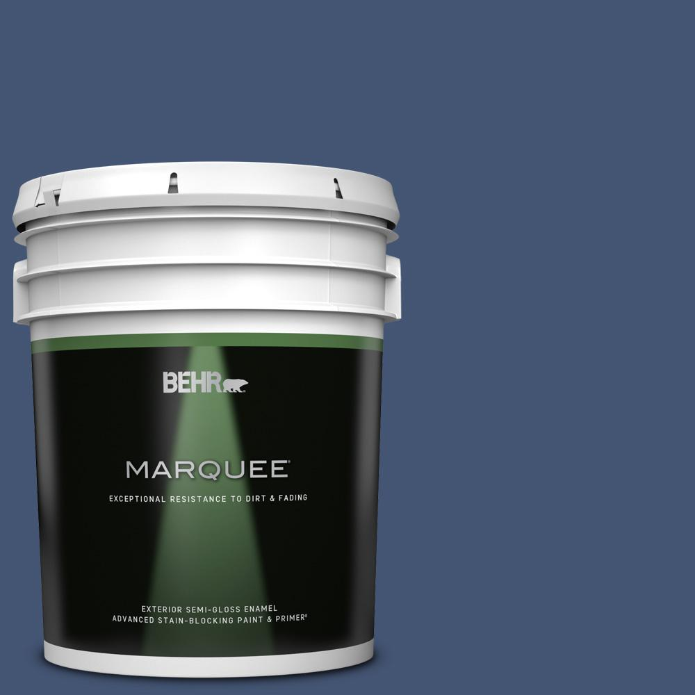 Behr Marquee 5 Gal Home Decorators Collection Hdc Cl 26 Champlain Blue Semi Gloss Enamel Exterior Paint And Primer 545305 The Home Depot