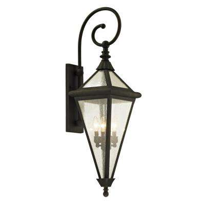Geneva 4-Light Vintage Bronze 37.5 in. H Outdoor Wall Lantern Sconce with Clear Seeded Glass