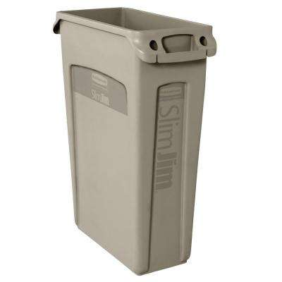 Slim Jim 23 Gal. Beige Rectangular Trash Can with Venting Channels