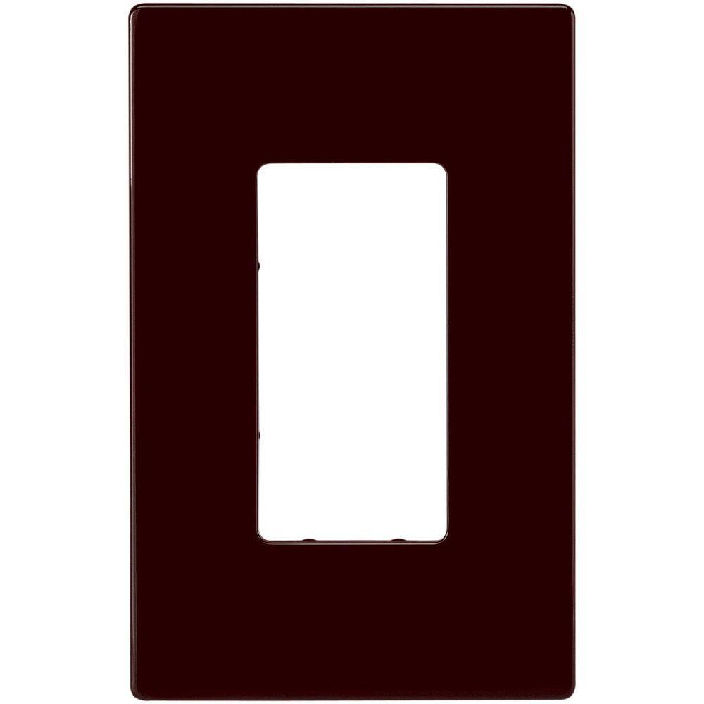 1-Gang Screwless Decorator Polycarbonate Wall Plate - Brown